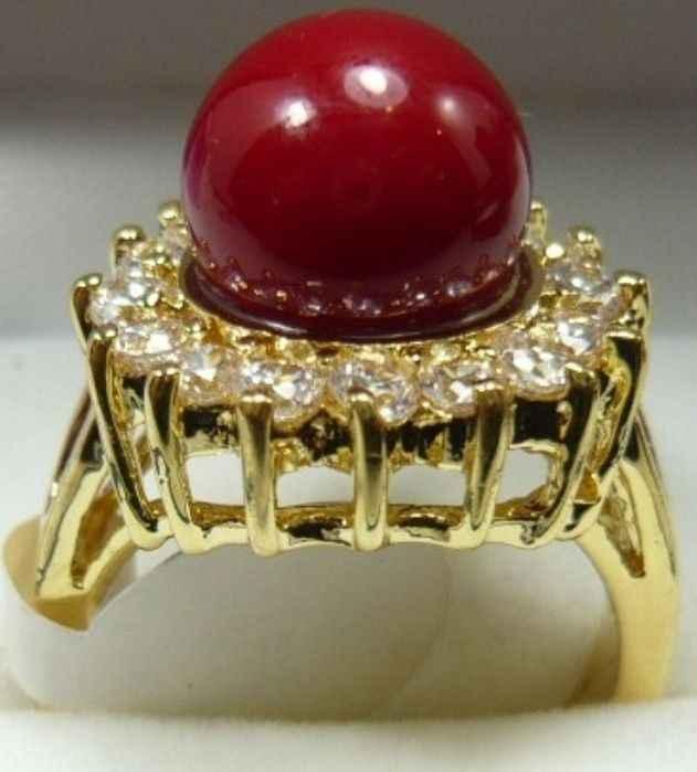 Whlesale Fine เครื่องประดับ 10mm สีแดงไข่มุกลูกปัด 18KGP คริสตัล Inlay แหวน (#6,7,8,9)
