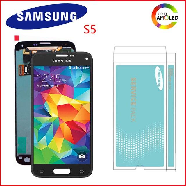 Ban Đầu Super AMOLED 5.1 Màn Hình Dành Cho Samsung Galaxy Samsung Galaxy S5 Màn Hình Cảm Ứng LCD Cho S5 I9600 G900 G900F G900M G900H SM G900F