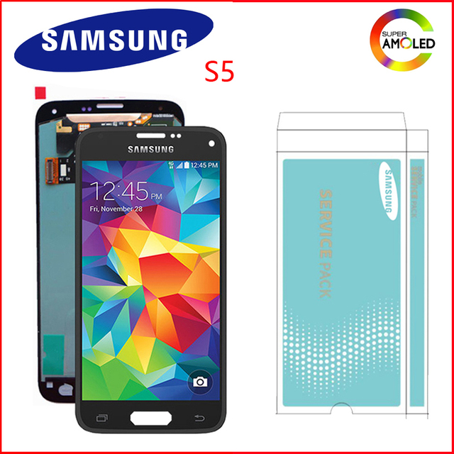 Originele Super Amoled 5.1 Display Voor Samsung Galaxy S5 Lcd Touch Screen Voor S5 I9600 G900 G900F G900M G900H SM G900F