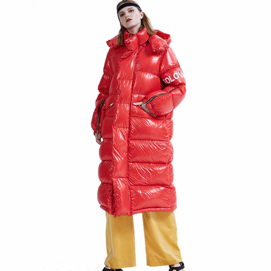 Winter red blue X-long thicker warm down jacket female long warm jacket fluffy bread style duck down coat for cold F236