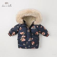 DBJ11915 dave bella, abrigo de invierno con capucha floral para niñas, chaqueta infantil acolchada, abrigo infantil de alta calidad, ropa de abrigo acolchada para niños