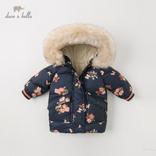 DBJ11915 dave bella winter baby girls hooded floral coat infant padded jacket children high quality coat kids padded outerwear