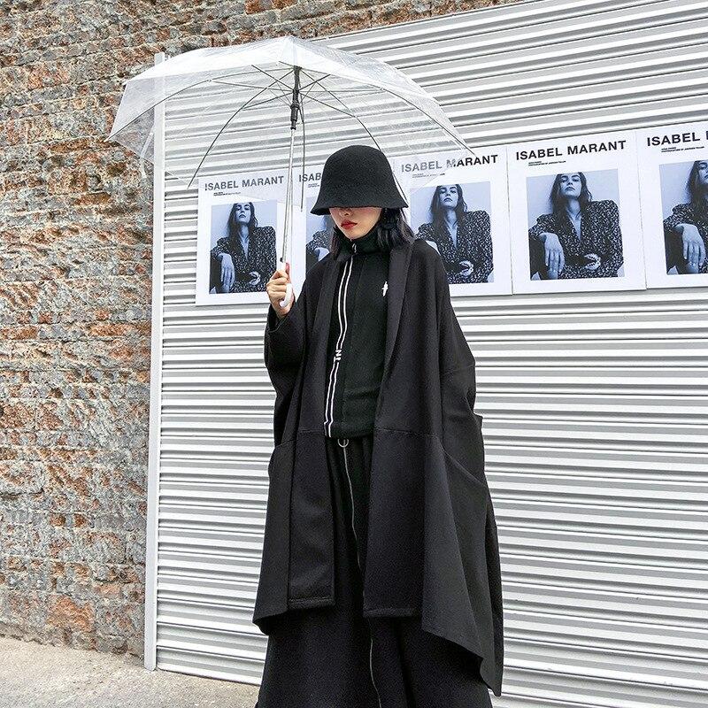 Retro Women's Coat Large Size Medium Long Section 2020 Spring New Black Wide Loose Manteau Femme Moda Mujer