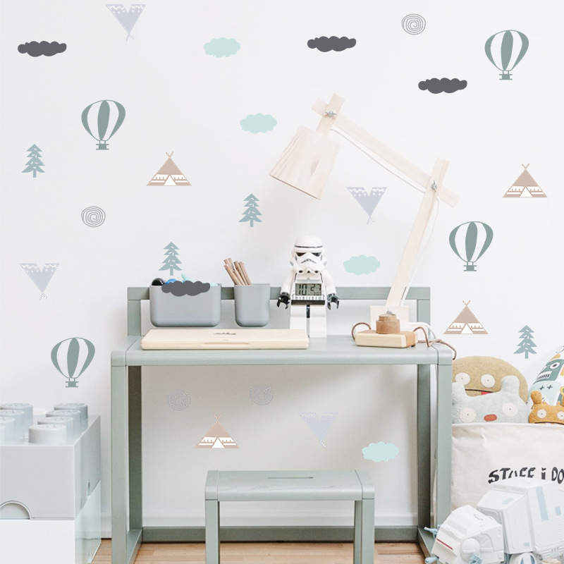 Cartoon Hot Air Balloon Wall Stickers For Kids Room Children Bedroom Living Room Wall Decals Home Decoration Art Mural Wallpaper