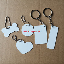 Сублимационный Алюминий заготовки круглые цепочка для ключей в форме сердца горячая передача печать брелок расходные материалы две стороны может напечатать 30 шт./лот