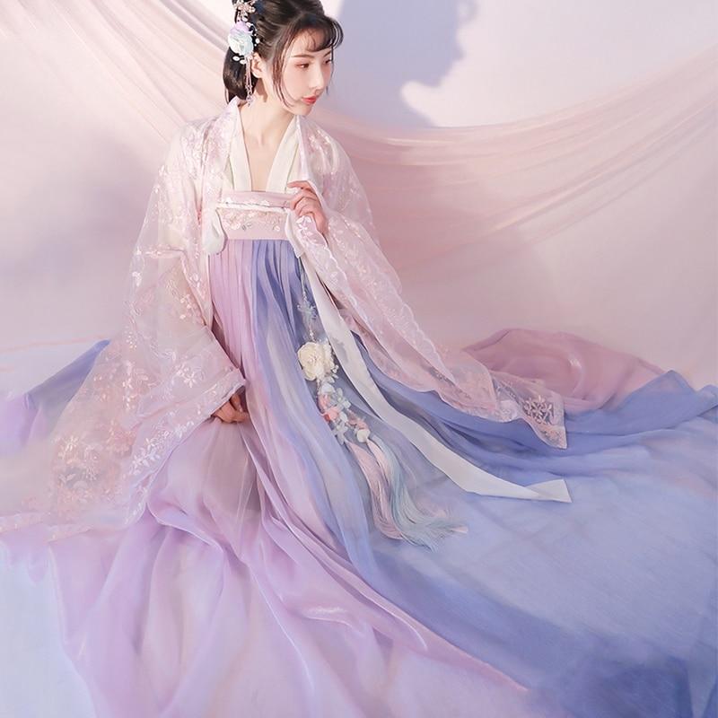 New Hanfu Dress Women Classical Dance Costume China Ancient Fairy Princess Costume Traditional Pink Hanfu Folk Dress SL1226