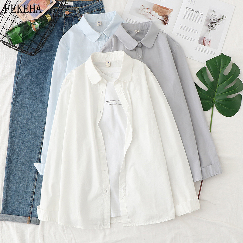 Blouses Women Cotton Long Sleeve Shirts Solid Turn Down Collar Casual White Ladies Tops 2020 Spring Blusas Femininas