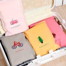 Moda sacos de armazenamento de viagem zíper organizador para meias de roupa interior sapatos saco de armazenamento de limpeza roupas embalagem saco com zíper