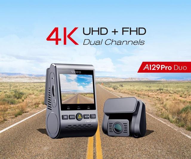 A129 pro duo viofo 4k câmera de ré dupla, ultra hd, 4k, para frente de estrada, mais nova 4k dvr câmera automotiva super de visão noturna com gps e hk3