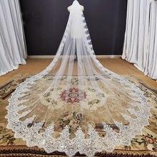 Brilho lantejoulas laço catedral véu de casamento com pente 3.5 metros de comprimento 1 camada branco marfim nupcial véu acessórios casamento