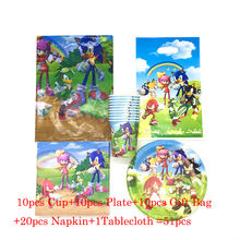 51pcs Sonic the Hedgehog Party Supplies Birthday Party Paper Plates Cups Gift Bags Baby Shower Birthday Decor Party Tablecloth 40pcs unicorn paper plates large 23cm plates baby shower bbq summer party decor birthday party paper plates wedding decoration