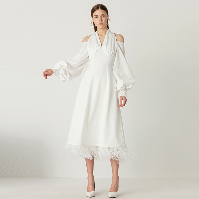 YIGELILA New Arrivals White Dress V-neck Full Sleeves With Button Dress Solid Mid-calf Backless Lantern Sleeves Dress 65468