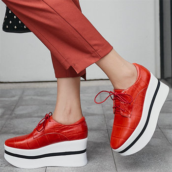 Punk Trainers Women Lace Up Genuine Leather Wedges High Heel Platform Pumps Shoes Female Low Top Fashion Sneakers Casual Shoes
