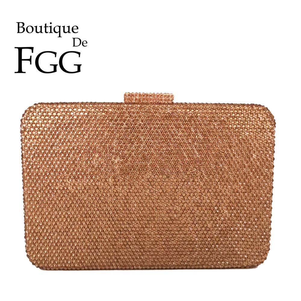 Boutique De FGG Gold Women Diamond Evening Bags Wedding Ladies Crystal Box Clutch Party Rhinestones Purses And Handbags