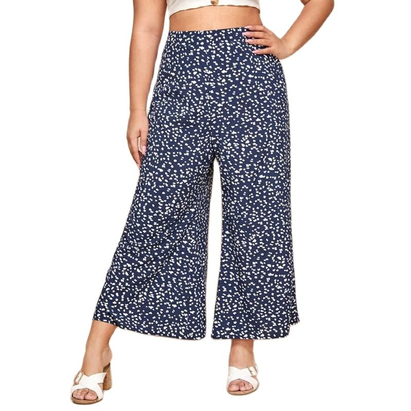 2021 Summer Wide-legged Large Size Capri Pants for Women Loose  Casual Printing Point High Waist Wide Legs Pants Plus Size