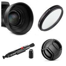 62mm UV filtre Lens Hood + kap + temizleme kalem Panasonic Lumix FZ1000 Mark II FZ1000M2 DMC FZ1000 dijital kamera
