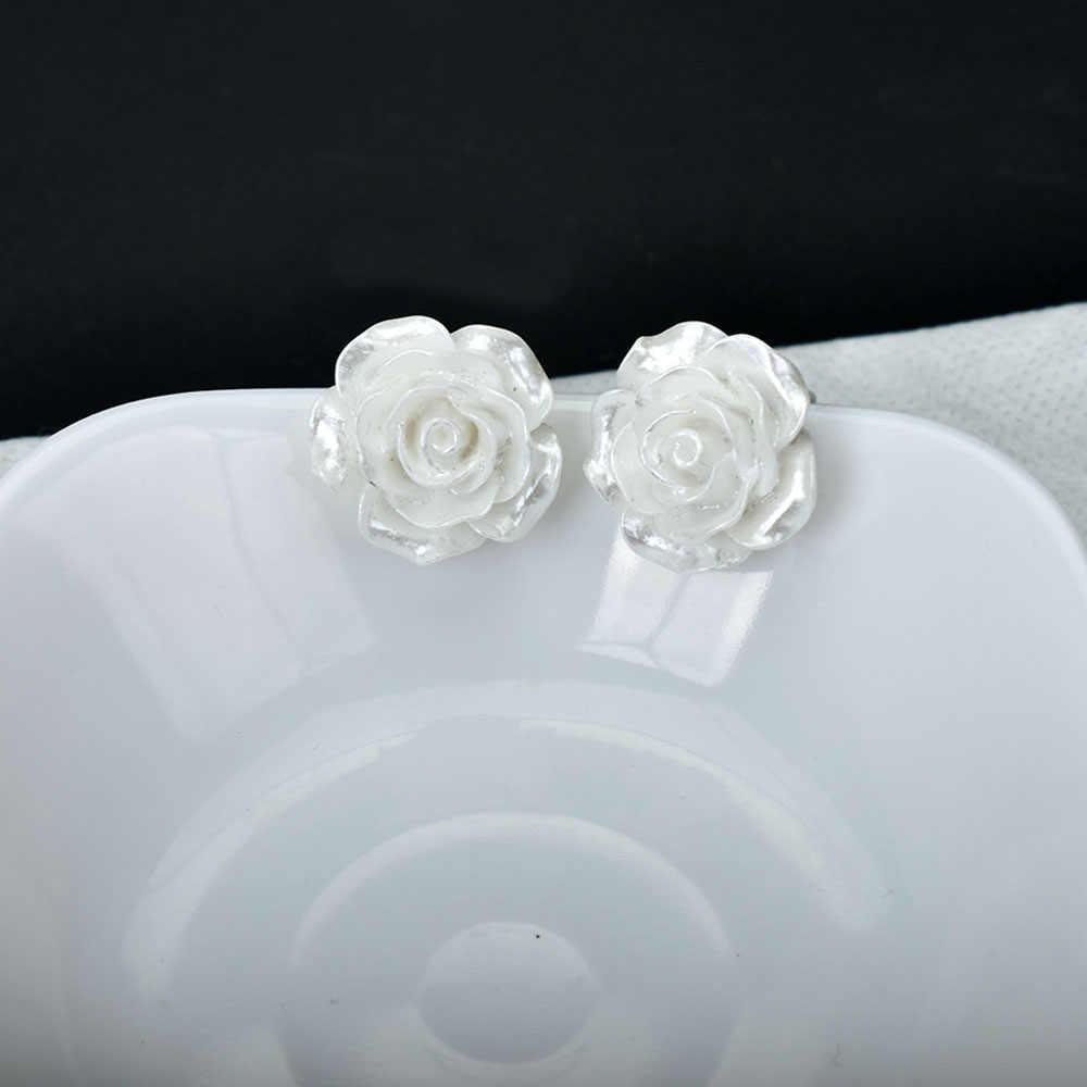 Besar Putih Bunga Klip Anting-Anting Tanpa Tindik Anting Tidak Ada Telinga Lubang Tanaman Perhiasan Sederhana Bunga Manset Telinga untuk Wanita anting-Anting