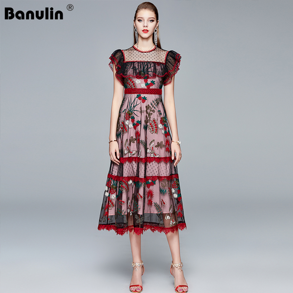 Banulin Runway Spitze Sommer Kleid Frauen Oansatz Sexy Rüschen Flare Hülse Spitze Mesh Blume Stickerei Midi Kleid robe femme