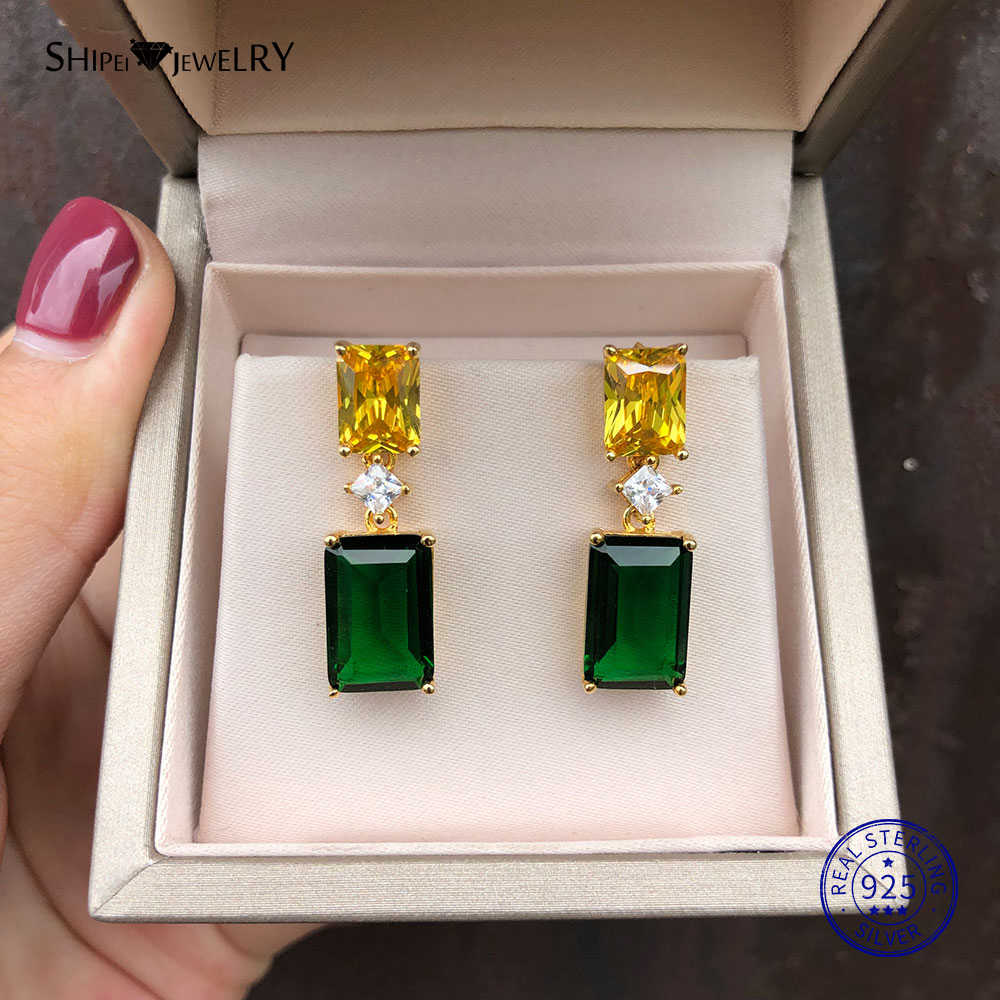 Shipei טבעי ירוק אמרלד עגילי זהב הרבעה תכשיטי יוקרה אמרלד עגילי 925 כסף סטרלינג אישית מתנת יום הולדת