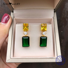 Shipei Natural Green Emerald Earrings Gold Fine Jewelry Stud 925 Sterling Silver Personalized Birthday Gift