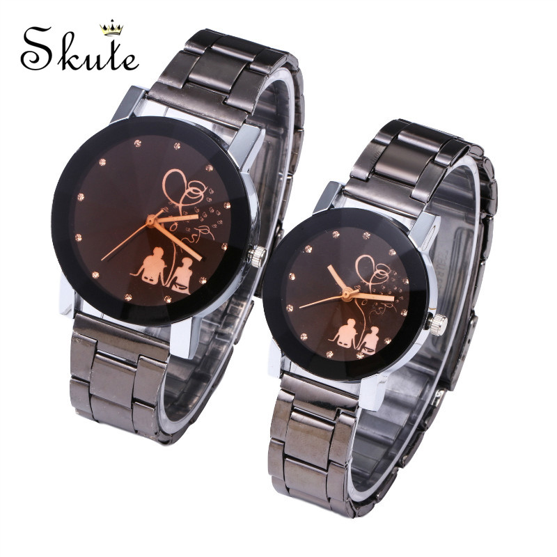 Skute Fashion Couple Watch Men Quartz Watch Women Stainless Steel Band Wristwatch Lovers Watch Clock Relogio Feminino Masculino