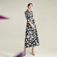 Fashion Polka Dot Long Women Trench Coat Skirt Style Turn-do