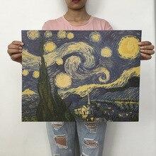 Nuevo póster al óleo de Van Gogh Monet, Vintage, clásico, papel Kraft, póster, pintura, pegatinas de pared, decoración para el hogar, gran oferta