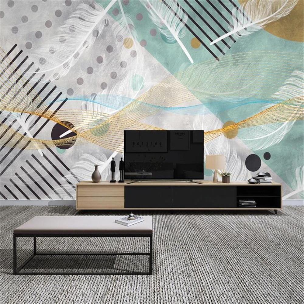 Milofi Nordic modern minimalist abstract geometric feather TV background wall
