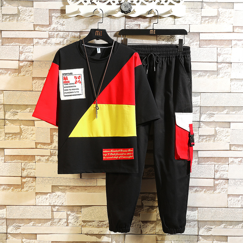 2 Pieces Sets Men Sportswear T-shirts+Pants Casual Sweatpants Sets New Male Hip Hop Style Loose Sets Elastic Waist Pants Size3XL