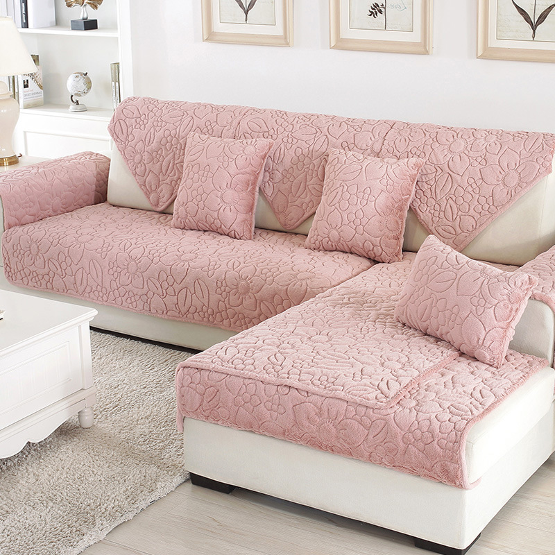 1pcs Sofa Cover Solid Color Plush Couch