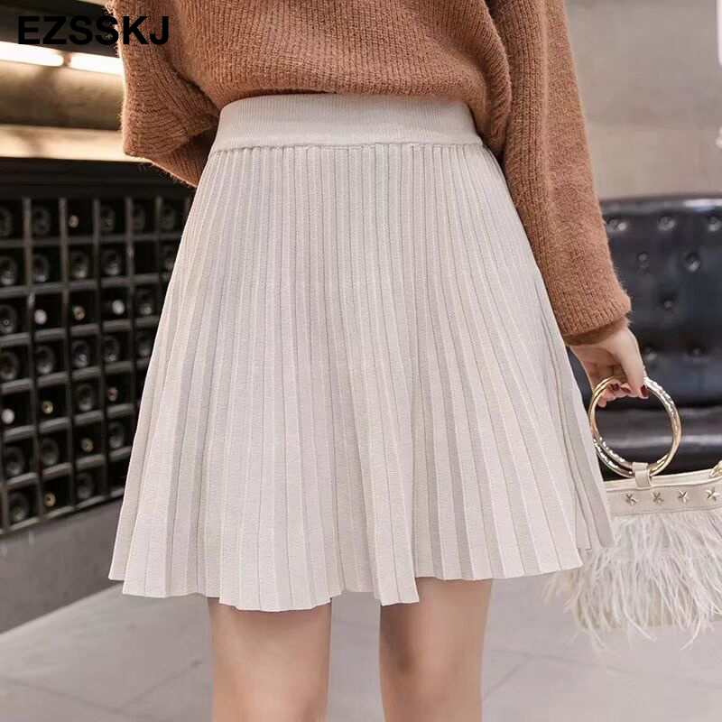 Image 2 - 2019 autumn Winter sweet short sweater sun skirt women A line skirt umbrella skirt female high waist  knit bottom mini skirt-in Skirts from Women's Clothing