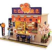 Casa de muñecas Cutebee DIY casas de muñecas de madera miniatura Casa de muñecas Kit de muebles juguetes para niños Año Nuevo navidad regalo Casa M913