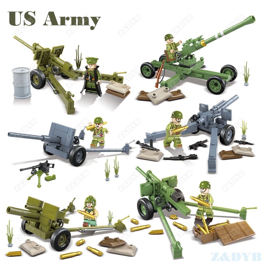 WW2 USA Army Artillery Troops Forces Military Figures Sets Weapon Gun Soldier Minifigs Locking Building Block Brick Children Toy