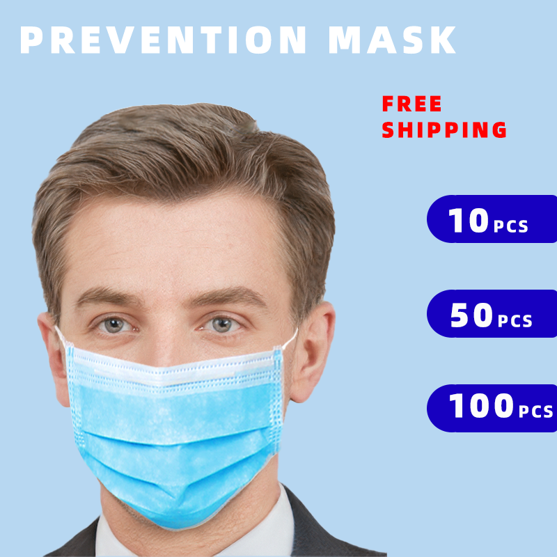 CC Face Mouth Masks Disposable Mask 3 Layer Non Woven Safe Breathable Elastic Earloops Masque Soft Maske Fast Delivery Hot Sale