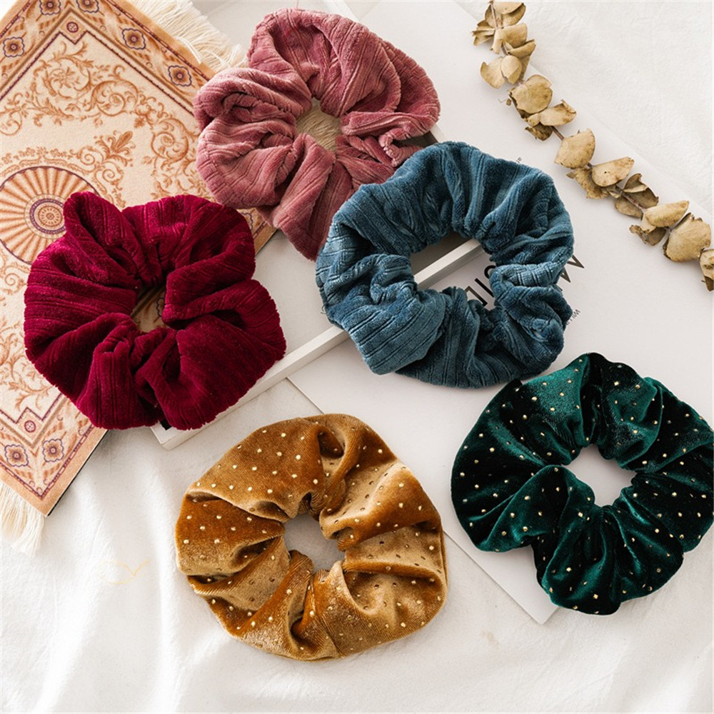 New Christmas Gold Velvet Scrunchies Solid Hair Ring Ties For Girls Ponytail Holders Rubber Band