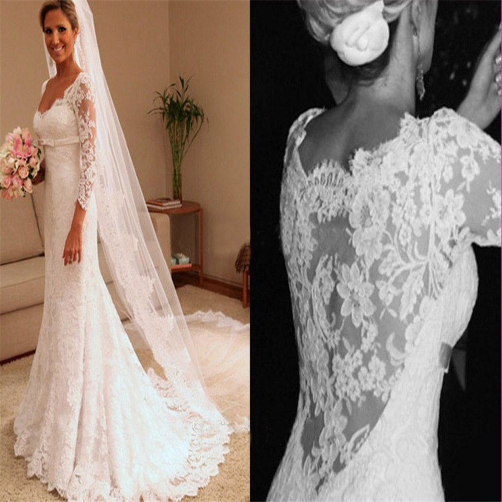 Sexy Sweetheart Lace Long Sleeves Mermaid Wedding Dresses Natural Slim Waist Long Bridal Gowns Custom Made Formal Robe De Mariee