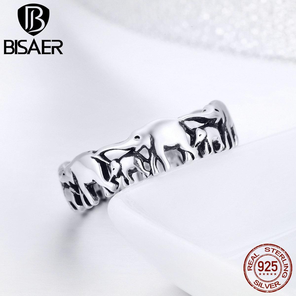 BISAER Original 2019 925 Sterling Silver Vintage Ethnic Elephant Animal Stackable Women Finger Rings Vintage Silver Bague GXR344
