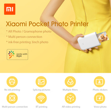 Xiaomi Printer AR Printer 300dpi Portable Photo Mini Pocket With DIY Share 500mAh picture printer pocket printer work with mijia