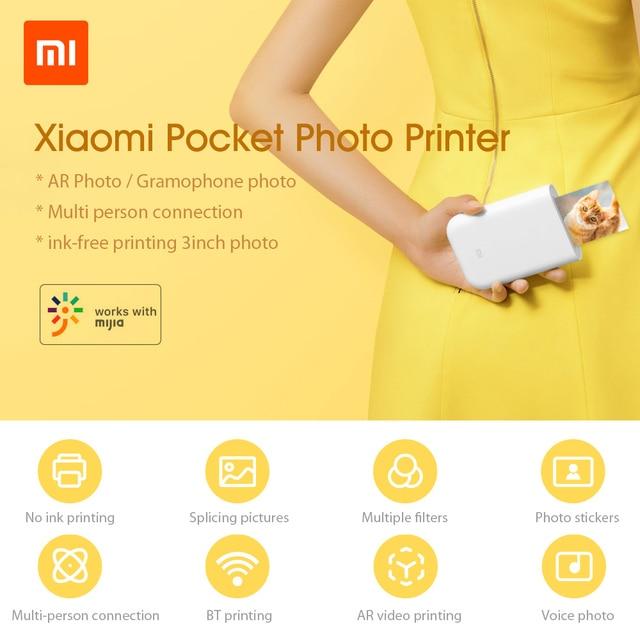 Xiaomi imprimante AR imprimante 300dpi Portable Photo Mini poche avec bricolage partager 500mAh Photo imprimante imprimante de poche travailler avec mijia