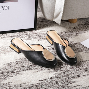 Image 2 - Genuine Leather Mules Women Shoes Metal Decoration Square Toe Slippers Casual Chunky Heels Slides Slip on Loafers Big Size Mule