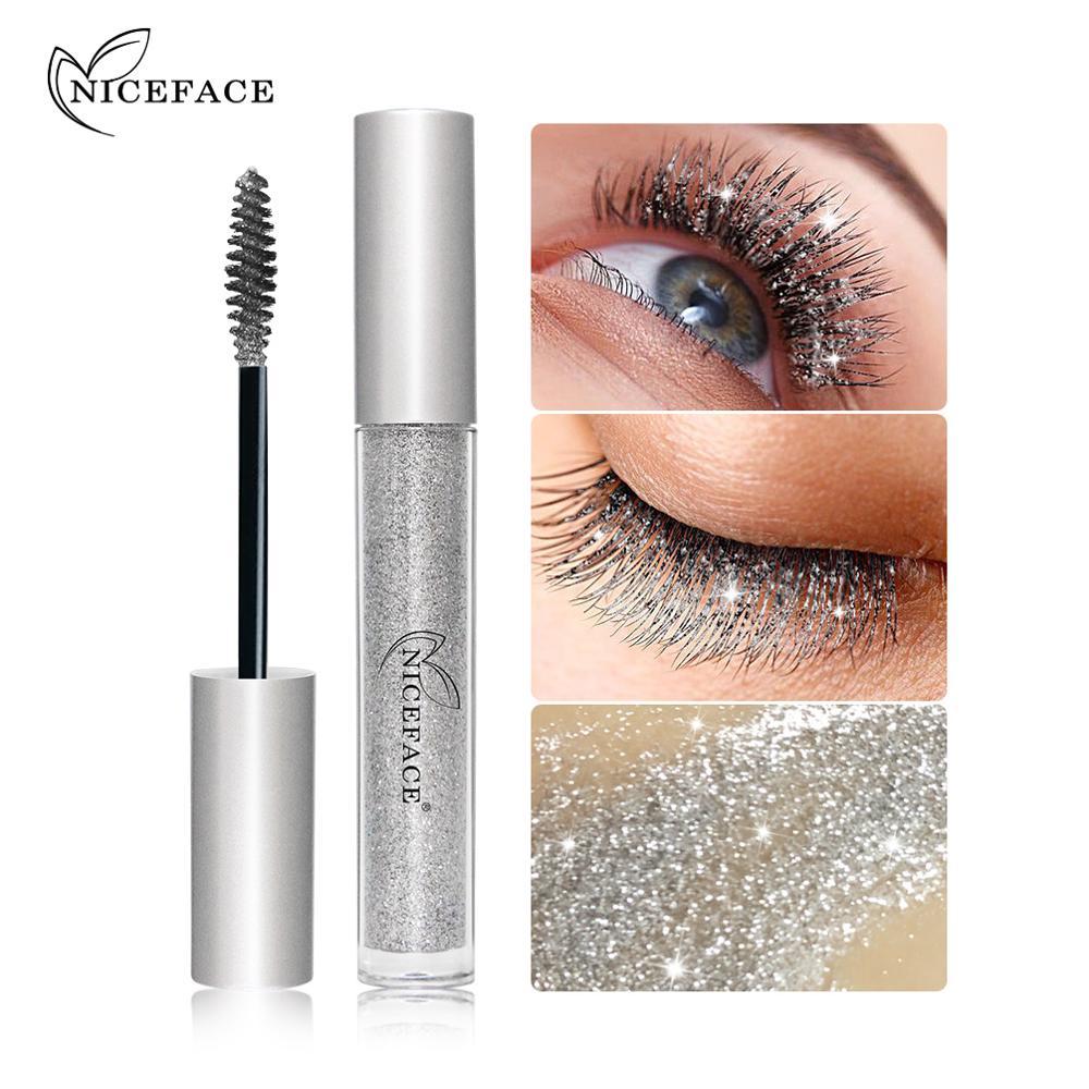 NICEFACE Diamond Glitter Mascara Quick Dry Water Drop Makeup Long Lasting Waterproof Curling Thick Shiny Eyelash Mascara QB064