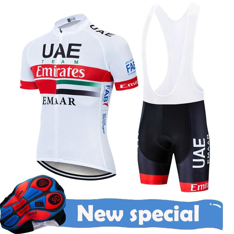 Team uae conjunto de maiô ciclista masculino, roupa de corrida para andar de bicicleta, tecido jersey, mtb, verão, 2020