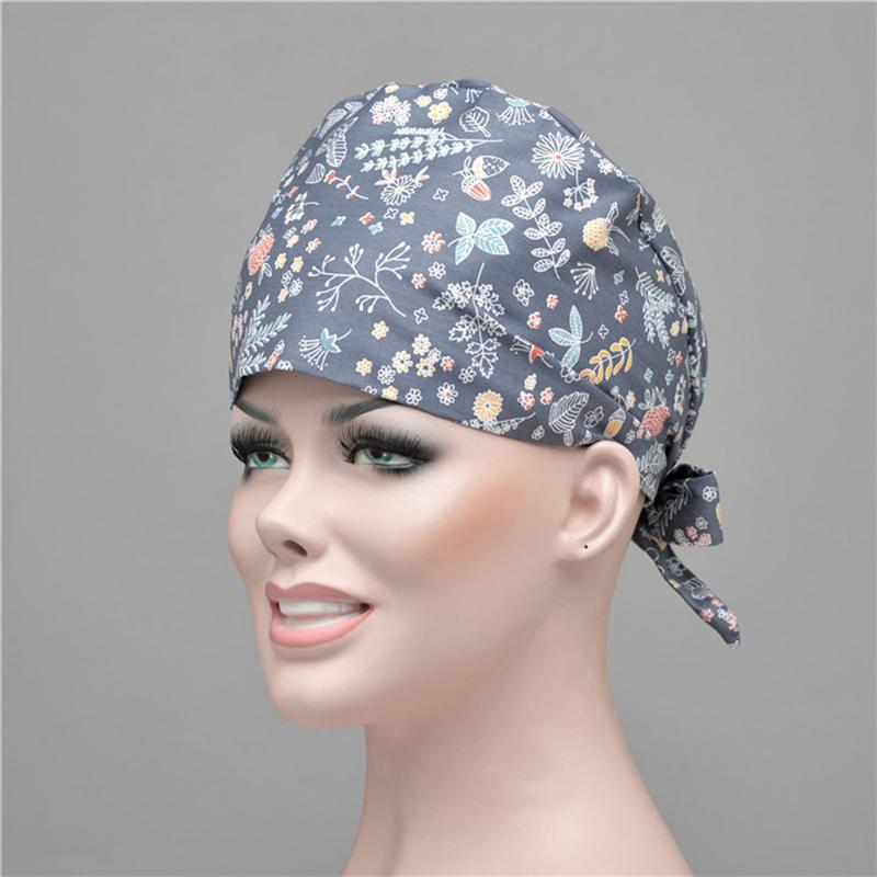 2pcs Pure Cotton Printed Protective Cap Adjustable Working Hat For Hairdressers Workers (Assorted Color,Broken Flower Dot Style)