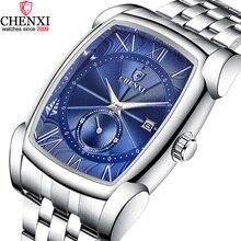 CHENXI erkekler dikdörtgen saatler mavi gümüş paslanmaz çelik Businessl erkek saati durdurma izle su geçirmez Retro antika saat erkekler için