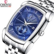 Chenxi 男性長方形腕時計ブルーシルバーステンレス鋼 businessl メンズ腕時計ストップウォッチ防水レトロアンティーク時計男性のための