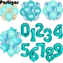 Palloncini numero di lamina Tiffany da 32 pollici palloncini in lattice decorazioni per feste di buon compleanno palloncino per adulti/bambini Baby Shower/forniture per decorazioni di nozze