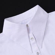 Chemise à gros revers en coton, Faux Col blanc, chemise femme détachable, demi-chemise amovible, cravate
