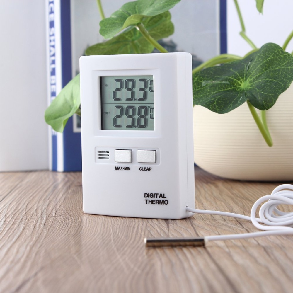 LCD Display Thermometer Temperature Meter Tester Home Indoor Outdoor C/F Temperature Conversion White