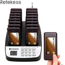 Retekess T113 Restaurant Wireless Guest Paging Queuing System with 1 Transmitter + 16 Chargerable Pagers for restaurant coffee