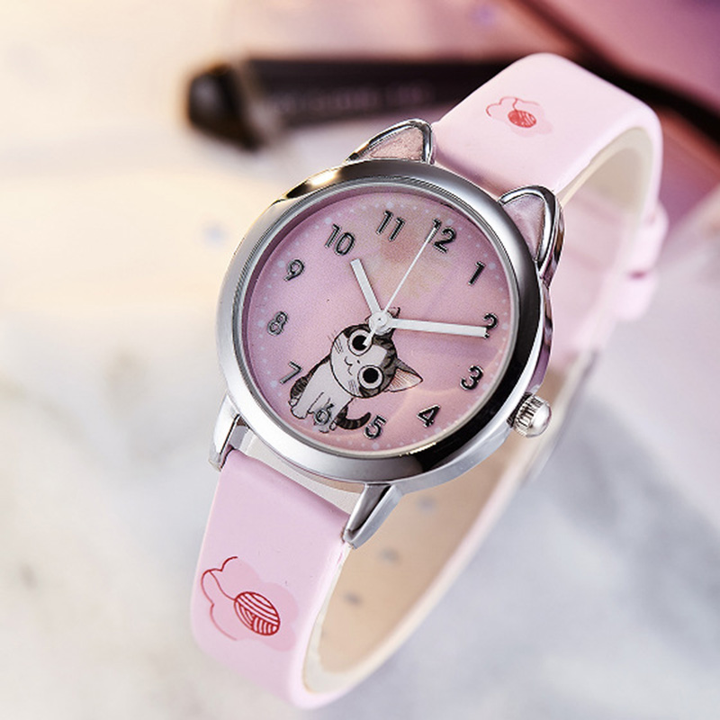 High Quality Children Kids Watches Casual Fashion Cute Students Watch  PU Leather Strap Quartz Wrist Watch For Girl Boy